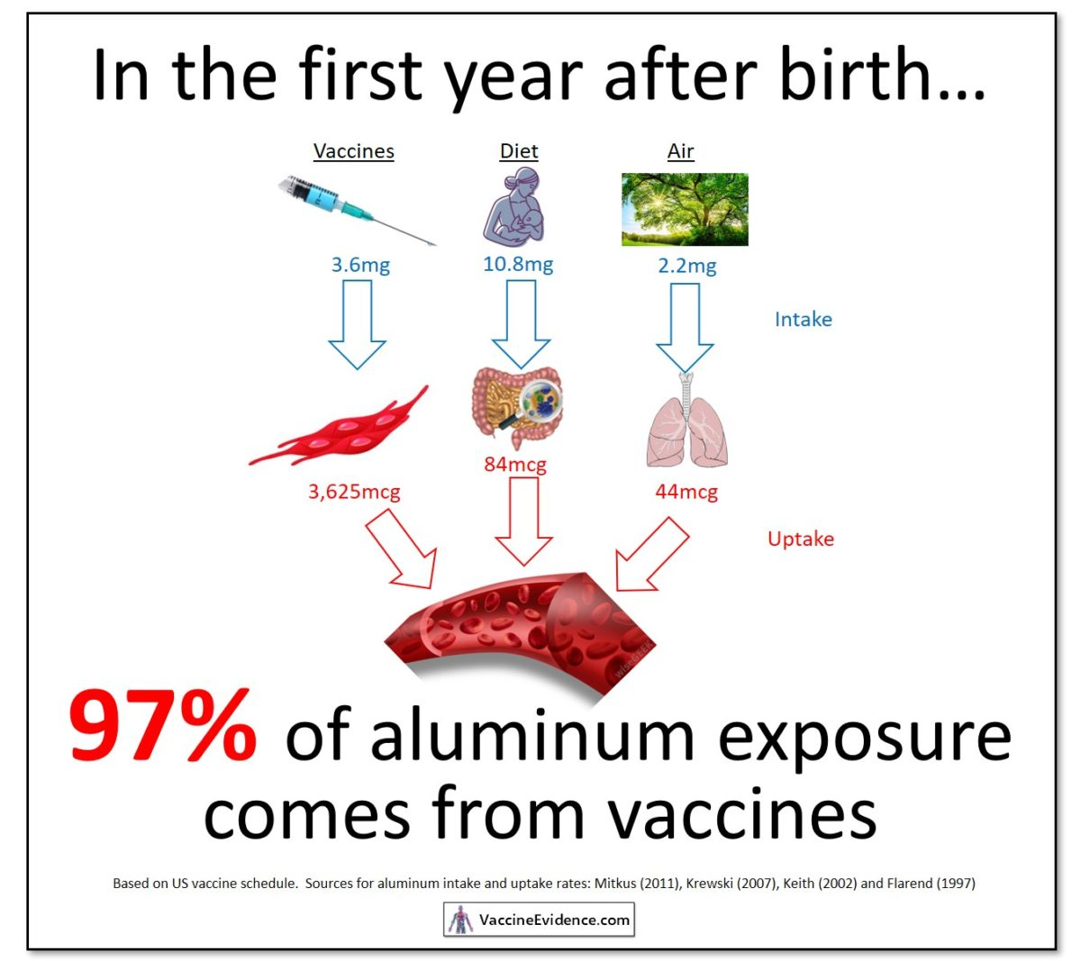 Aluminum from Vaccines and Diet